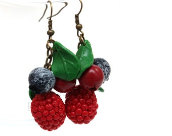 Blueberry, raspberry and cranberry earrings made of polymer clay (realistic wild forest berries crafted into a beautiful piece of jewelry)