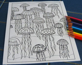 jellyfish coloring page print your own coloring page hand drawn coloring page instant download art therapy coloring page kids coloring