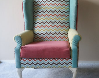 chevron wingback chair sold