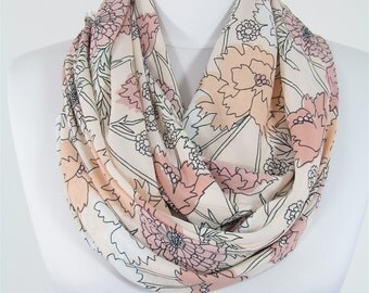 Floral Scarf Pastel Scarf Shawl Infinity Scarf Circle Scarf Spring Summer Fall Fashion Accessories Mothers Day Gift Christmas Gifts For Her