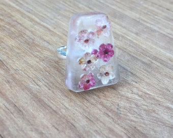 Pink Flower Ring - Resin Ring – Resin Jewelry – Real Flower Ring – Pressed Flower Resin Jewelry – Botanical Ring - Handmade Gift