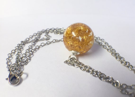 gold flake necklace resin jewelry resin by