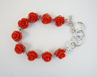 Red rose flower bracelet, adjustable silver bracelet, inlay flower bracelet, Christmas gift, gift for her