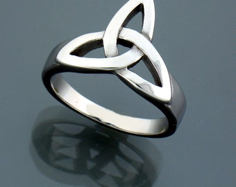 Stainless Steel Bold and Large Modern Trinity Ring (s32)