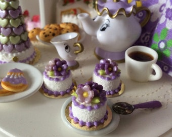 Little Floral Cake for Blythe in Purple shades -Model D-