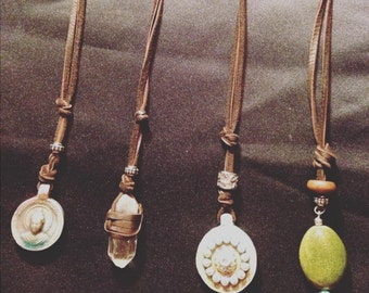 Long Leather Cord Necklace