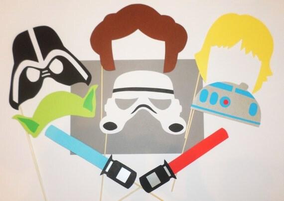 Star wars photo booth props Darth vader Storm Trooper Yoda Princess Light saber Birthday party Star wars party Star wars birthday party