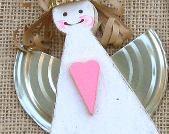 Wood Angel, Wooden Ornament, Holiday Ornament, Recycled Angel, Christmas Decor, Christmas Angel, White Wooden Angel, Rustic Angel