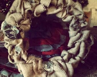 Burlap and Army ACU wreath