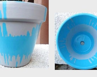 Grey and Blue Hand-Painted Pot//Hand-Painted Pottery
