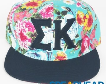 Sigma Kappa Floral Hat, Sorority Floral Hat, Snap back Hat, Sigma Kappa Letters, Embroidered Hat, Recruitment Gift, Big and Little Gift