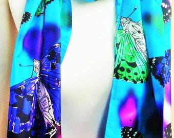 Silk Scarf Butterfly Blue