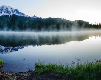 Mount Rainier Landscape Photography, Foggy, Washington Cascade Mountains, Reflection Lake, Sunrise Light, Large Wall Art, Panoramic Print