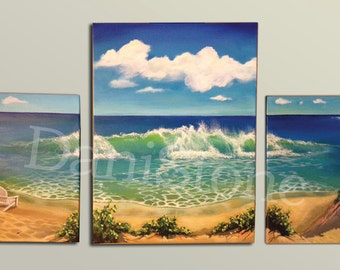 Ocean Triptych on Canvas