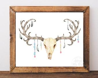 Deer skull, boho wall art, printable, decor, watercolor, tribal, rustic wall art, boho nursery, stag skull, printable wall art, 8x10