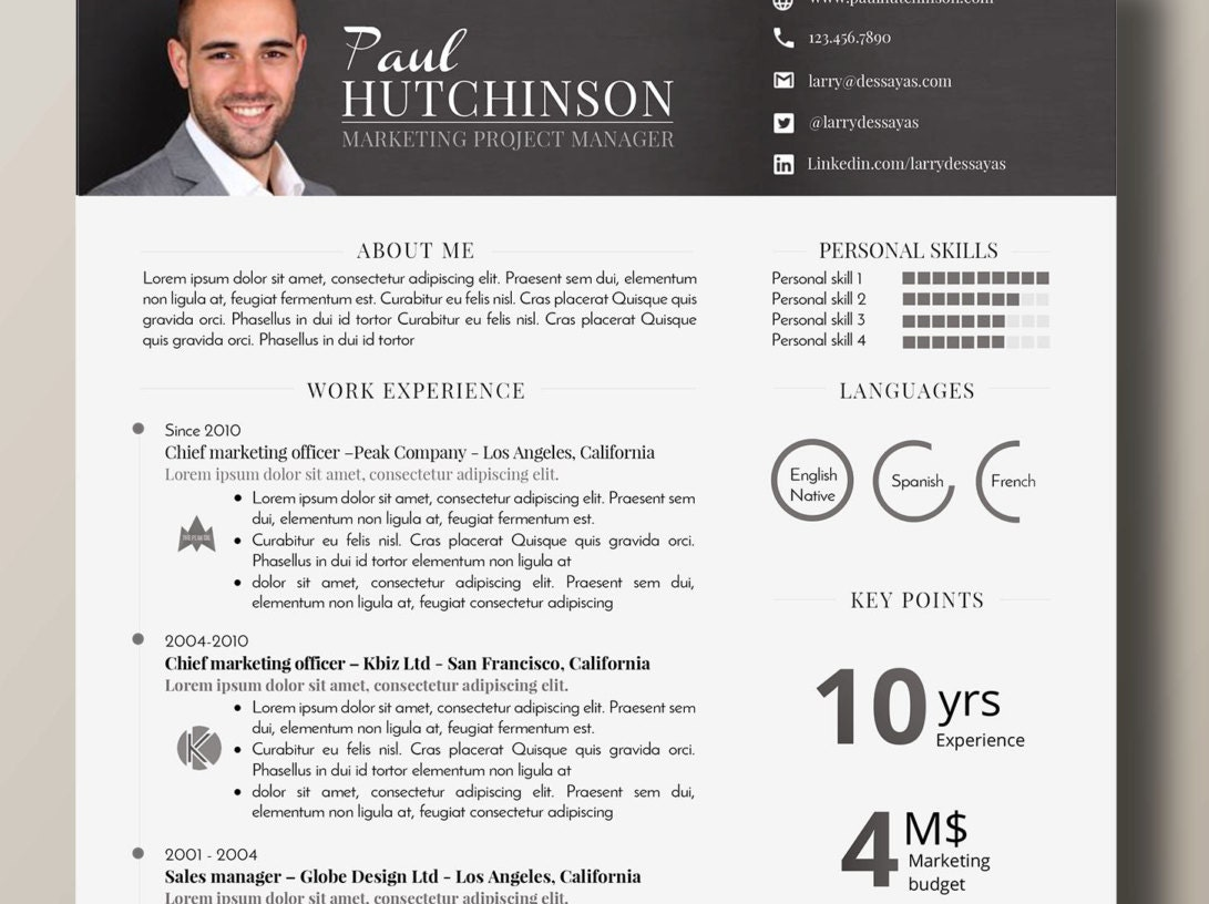 impactful design and professional resume 1 page word