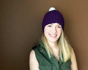 Purple Touque with White Pom Pom