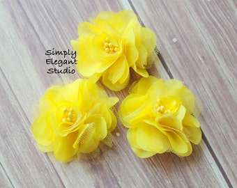 Yellow Mesh Chiffon Flowers, Headband Flowers, Wholesale Flowers, Flower Supply
