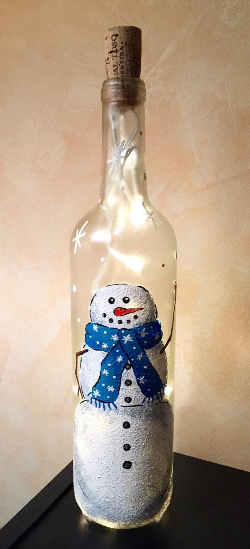Cheers snowman light up wine bottle for Light up wine bottles