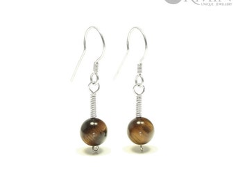 Tiger's Eye & Sterling Silver Drop Earrings 01195E, Brown Tigers Eye Jewelry, Boho Jewelry, Natural Gemstones Jewelry, Healing Crystals