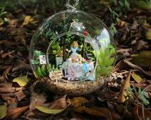 DIY Alice Glass Ball House Model Building  ,Alice in wonderland, Handmade 3D Miniature Wooden Doll House