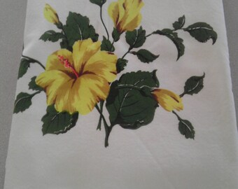 RESERVED for E.H. Vintage California Hand Prints tablecloth hibiscus with tag off white yellow green gold brown coral