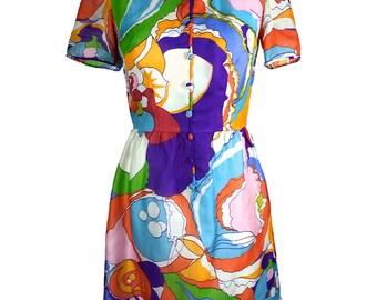 1960s Acid Print Tea Dress