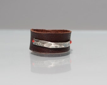 Leather Ring / band - hammered silver accent - red cotton stitch on brown leather