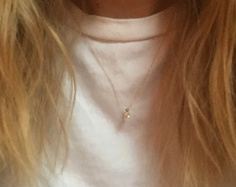 14k Gold Necklace With .15ct Diamond