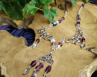 Poison Grove - collana girocollo necklace celtic grove celtico edera ivy viola purple cristalli crystals triskell foglia leaf ghianda acorn