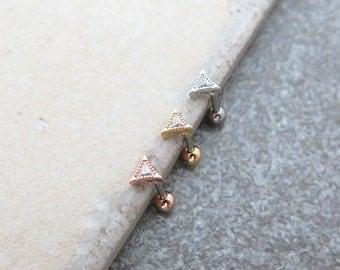 CZ stud Piercing/Tragus Earring/Cartilage earring/Triangle CZ piercing/Tragus Piercing/CZ piercing/Labret bar optional/Helix /conch piercing