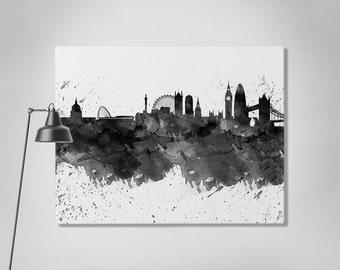 London canvas print, London watercolor skyline canvas, London black & white, Art print, Home decor, Travel print, Wall art, ArtPrintCanvas.