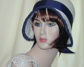 Custom Convertible handmade asymmetrical 5 in 1 cloche bowler - Downton Abbey hat, Miss Fisher, Great Gatsby hat
