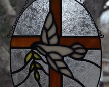 Stained Glass Dove and Olive Branch Cross Sun Catcher: Religious, Christian, Spiritual, Peace, Art