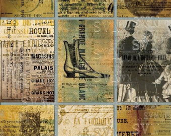 Random Ephemera Collage - 18 Printable ATC Cards / ACEO Cards -  Digital Collage Sheet - For Scrapbooking...