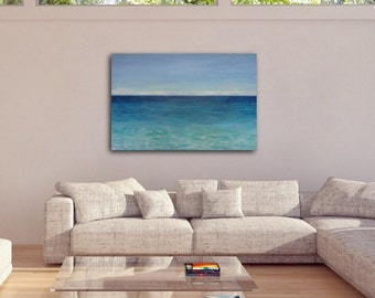 """ABSTRACT PAINTING, Abstract Sea Painting, Abstract Acrylic Painting on Canvas by Sonja Alfreider, Title: """"Endless Blue"""""""""""