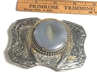 Nickel Silver Belt Buckle, Vintage Belt Buckle, Horseshoe Belt Buckle Gemstone Belt Buckle, Blue Grey Stone Belt Buckle