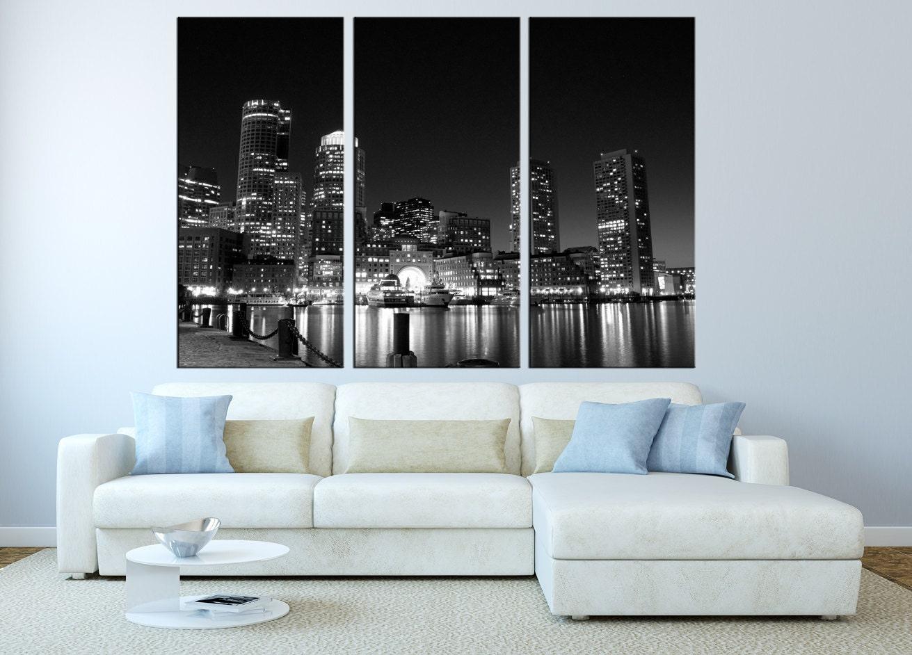Large Canvas Print Wall Art Boston Skyline Wall By