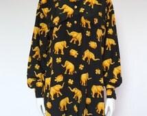 Escada Margaretha Ley vintage silk shirt dress print elephants, clover, turtles gold buttons