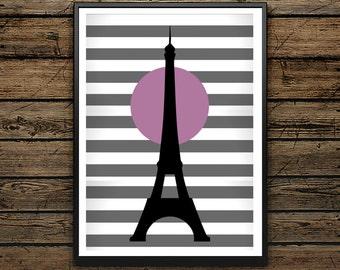Muestra igualmente Torre Eiffel rosa y negro - regalo - blanco y negro - impresión digital de mesa escandinava - decoración de la pared-