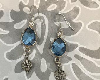 Blue crystal glass earrings