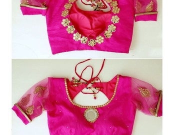 USASeller Ready made Embroidered Hand made Pink Red Blue gold saree choli blouse
