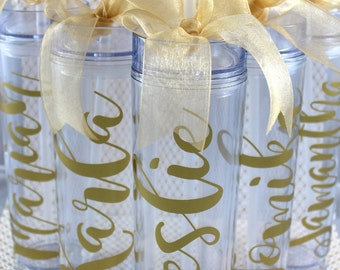 Bridesmaid gift-Skinny Personalized Tumbler-Wedding Party Tumbler - Party Favors Acrylic Tall Tumblers- Bridesmaid Tumbler - Custom Tumbler
