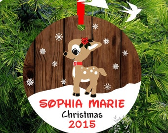 Personalized Kid's First Christmas Ornament, Clarice Baby Deer Ornament, Rustic Wood, lovebirdschristmas