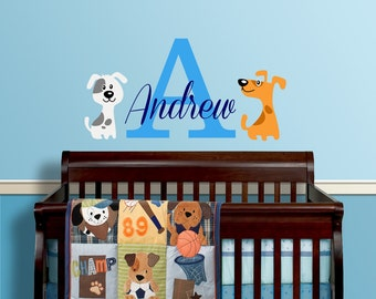Dog Puppy Themed Personalized Name Custom Initial Vinyl Wall Decal Sticker for Nursery, Boy's Room or Playroom