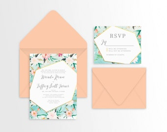 Aqua Floral and Geometric Wedding Suite - Set of 25 or Digital