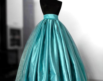 Teal blue organza skirt Blush wedding gown Satin wedding skirt Bridal gown Long prom skirt Ball skirt Full Maxi  Crinoline Bouffant gown