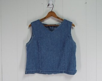 Vintage 1990s Womens Cotton Denim Sleeveless Top with Button Detailing at Back | Size M/L
