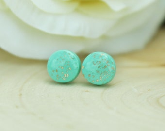 REDUCED! Mint and Gold Earrings / Mint Earrings / Goldleaf Earrings / Hypoallergenic Earrings