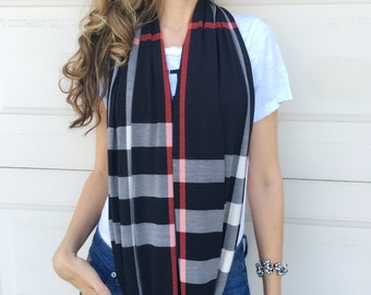 Black Beige Red Plaid Line Infinity Circle Knit Scarf